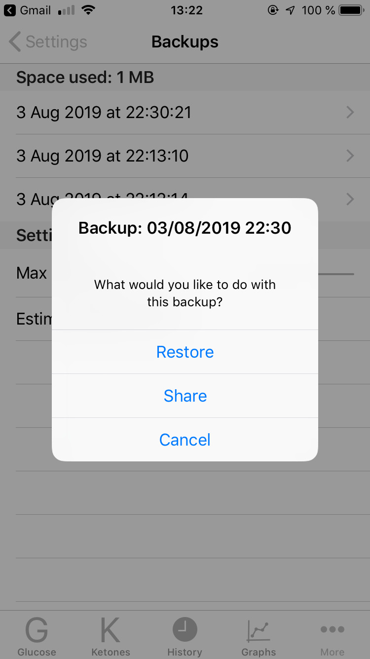 Ketologger backup manager. Restore or share option.